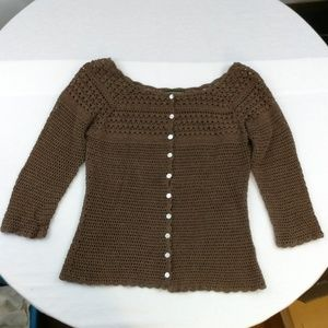 Eddie Bauer Hand Crocheted Button Up Cardigan